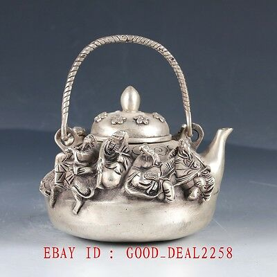 Crusted Silve Copper Hand Made The 8 Immortals Teapot With Qianlong Mark