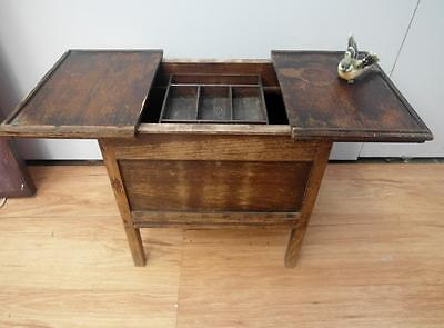 Vintage ANTIQUE Wooden SEWING Box SLIDE Lid with ORGANISER QZZQ Adelaide