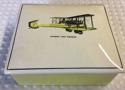 Vintage Gray's Pottery Vickers 'Vimy' Bomber Dish With Lid Fathers Day Gift Desk