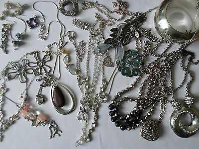 Job lot nice silver tone costume jewellery earrings bangles necklaces rings M