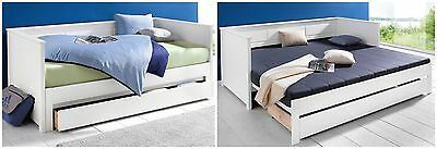 funktionsbett ausziehbar einzel doppelbett 90x200 180x200 wei kinder g ste bett eur 279 00. Black Bedroom Furniture Sets. Home Design Ideas
