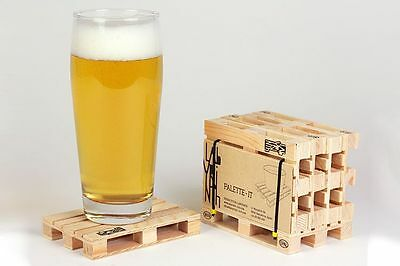 Palette It Set 5 Wood Coasters Mini Wooden Pallet Hot Pad Drinking Gift Pack