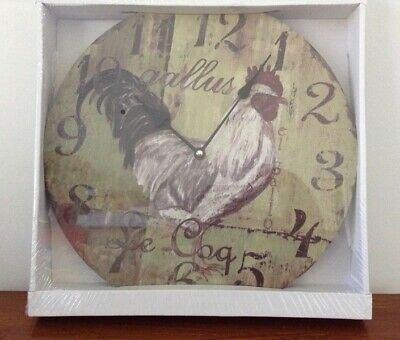Rooster Wall Clock 32cms ' Gallus Le Coq ' French Provincial Farmhouse