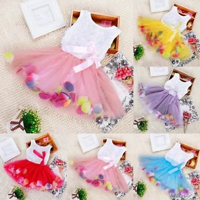 Lovely Baby Girls Princess Pageant Party Tutu Dress Lace Bow Flower Tulle Skirt