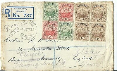 Stamps, Registered Cover From Hamilton, Bermuda, To England, 1932