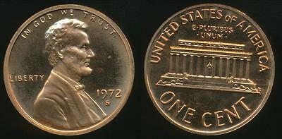 United States, 1972-S One Cent, 1c, Lincoln Memorial - Proof
