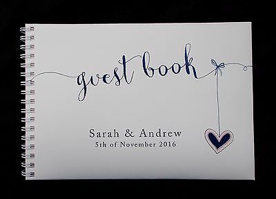 "A5 Personalised Guest Book ""Heart  Strings"" in Window Box + Optional Sign"