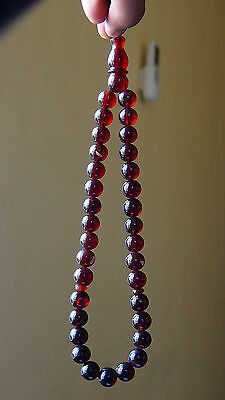 38 Gr 33 Round Beads Tasbih Misbaha Rosary Indonesian dark Cherry Red Amber 12mm