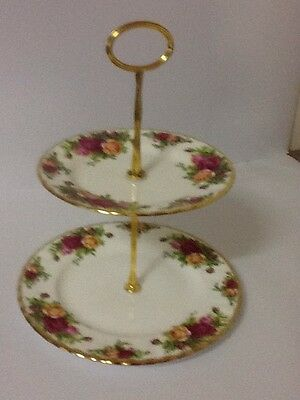 Royal Albert Old Country Roses -2 Tier Cake Stand - Mint Condition