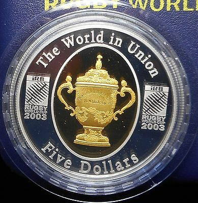 Australia 2003 Rugby World Cup Gold Plated &  Silver (1oz ) proof $5 Coin