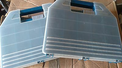 2 x Curver plastic compartment storage boxes.Great for craft/sewing/cross stitch