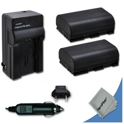 2 LP-E6 LPE6 Batteries + Quick AC/DC Charger for Canon DSLR Camera