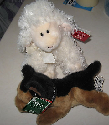 Russ Berrie BAASLEY Fluffy Lamb Plush Stuffed Animal Toy German Sheperd  dog