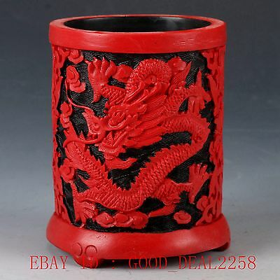 Chinese lacquerware Handwork Carved Dragon Brush pot  QQ01