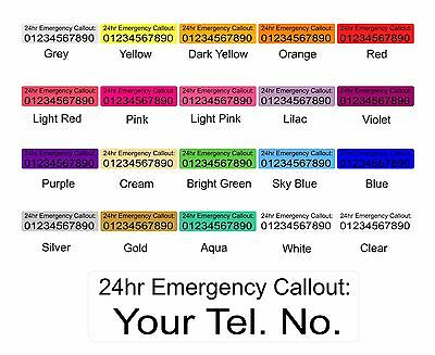 24 hour Emergency Callout Labels Stickers For Machinery alarms.. Colour Choices