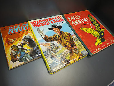 collection of Vintage TV Story Books Comic Annuals Eagle 7 Wagon Train Biggles