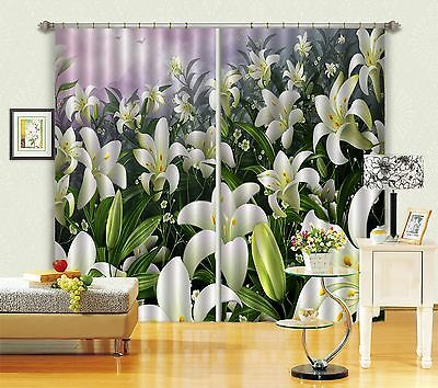 3D Lily Field Blockout Photo Curtain Printing Curtains Drapes Fabric Window CA