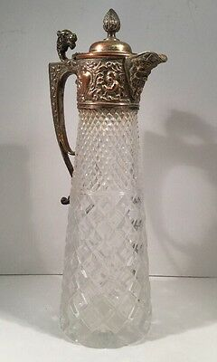 Antique Cut Crystal Glass Claret Jug Silver Plated Top Handle, Bacchus Spout 12""