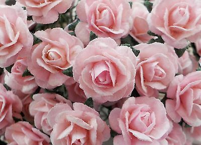100 Cute Handmade Mulberry Paper Roses - 10mm - Pale Pastel Pink Rose Topper!