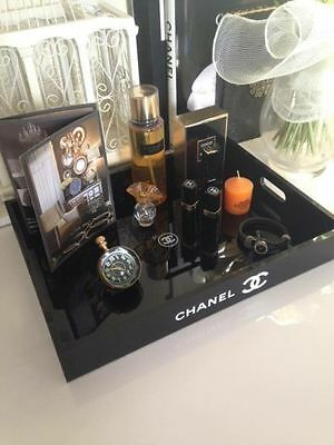 CHANEL VIP Black Vanity Makeup Cosmetic Acrylic Tray with Box NEW