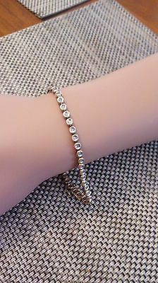 9Ct Yellow Gold 45 Diamond Tennis Bracelet 19Cm.  7.8 Grams