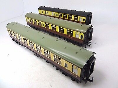 Rake Of 3 Hornby Dublo Oo 4050/4051/4061 Br Mk1 W/region Chocolate/cream Coaches