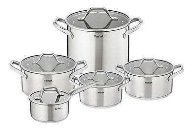 New Tefal Hero Stainless Steel Cookware Set 10 Pcs Glass Lid Pots Kitchen