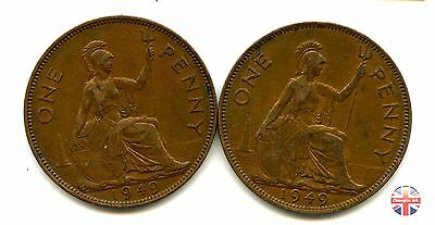 A pair of 1949 British Bronze GEORGE VI PENNY Coins