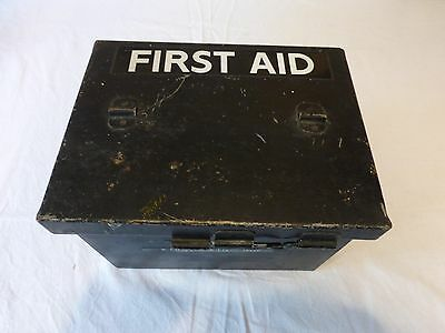 Vintage First Aid Tin in Black + Original Contents Unused and SEALED **REDUCED**