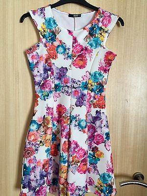 Ladies Quiz Multi Floral Stretchy Dress Size 12/14