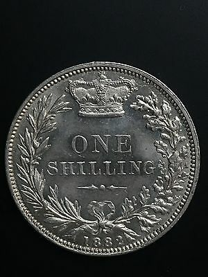 1882 silver milled SHILLING A/U