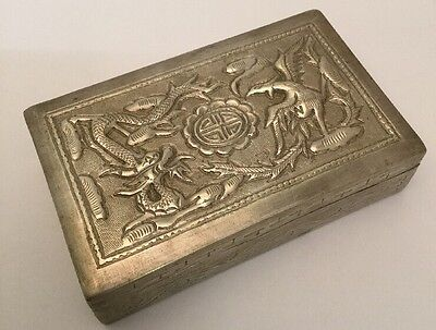 Antique / Vintage Chinese White Metal Box - Quality Design & Engraving. 4""