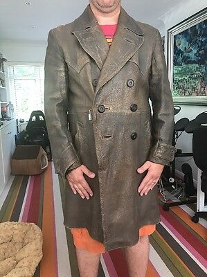 WW2 Period German Army Officers Leather Field Coat