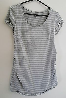 H&m mama maternity top t-shirt grey white striped summer s small 8 10