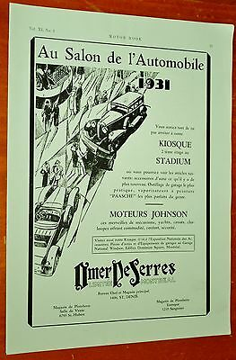 French 1931 Montreal Car Show Ad / Salon De L'auotmobile Omer Dessers - Vintage