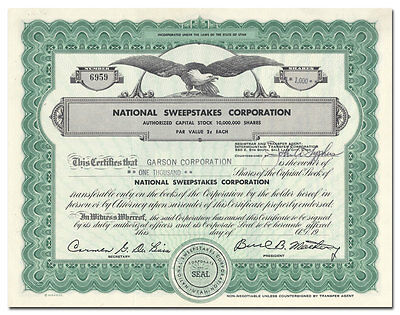 National Sweepstakes Corporation Stock Certificate (Utah, Lottery)
