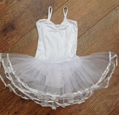 Girls White Leotard With Attached Tutu