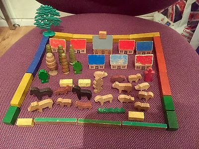 Vintage Wooden Farm Animals And Houses