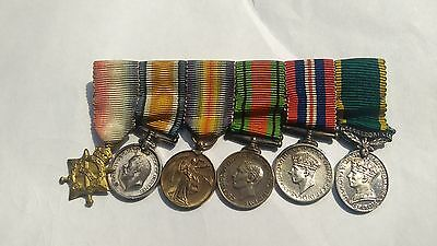 Group Of Genuine 6 Miniature Medals With Ribbons