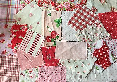 Scrap bag 100% cotton ~Cath Kidston ~Laura Ashley~ Reds~Pinks Patchworks~Crafts