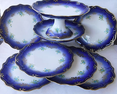 Antique Cobalt Blue & Forget-me-nots Limoges Dessert Service