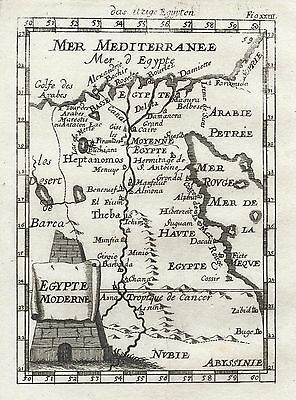 1685 Africa Egypt Nile Valley 17th Century Map Mallet
