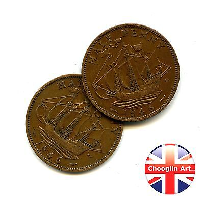 A pair of 1946 British Bronze GEORGE VI HALFPENNY Coins