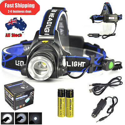 Zoomable 12000LM XML T6 LED Headlamp Rechargeable Head Light Torch+18650+Charger