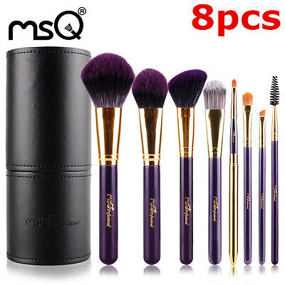 MSQ 8Pcs Professional Makeup Brush Set With Black PU Leather Cylinder For Beauty