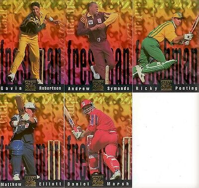 1996 Futera Cricket Elite Trading Cards Freshman Subset Full Set (5) MINT COND