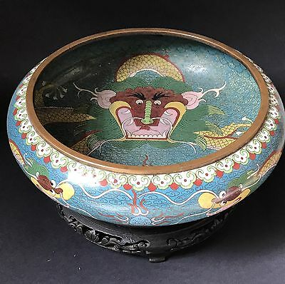 Antique Chinese Cloisonne Dragon Bowl & Wooden Stand