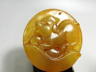 Amazing Chinese old jade hand carved Lovely pig statue pendant