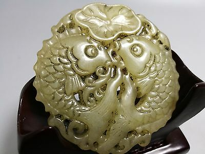 Chinese old jade hand-carved double fish Lotus design pendant