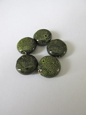 10pcs 16mm olive green flat round porcelaine beads jewellery making UK